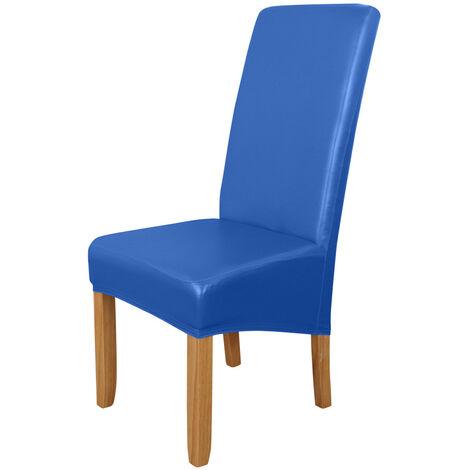 Funda Silla de comedor, alto estiramiento extraible para sillas de cubierta lavable PU cuero impermeable para sillas de asiento cubierta del protector para el hogar fiesta, azul