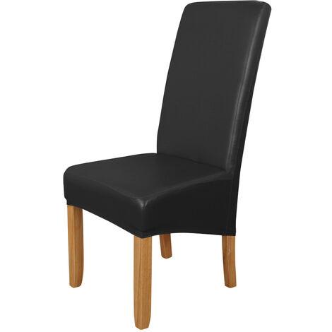 Funda Silla de comedor, alto estiramiento extraible para sillas de cubierta lavable PU cuero impermeable para sillas de asiento cubierta del protector para el hogar fiesta, Negro