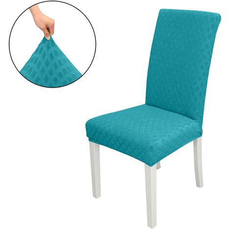 Funda Silla, gran capacidad de alargamiento extraible silla lavable Housse De asedio protector, Jacquard Rombo, Ceremonia Housse De cubierta de la silla del partido Home Hotel boda, azul pavo real