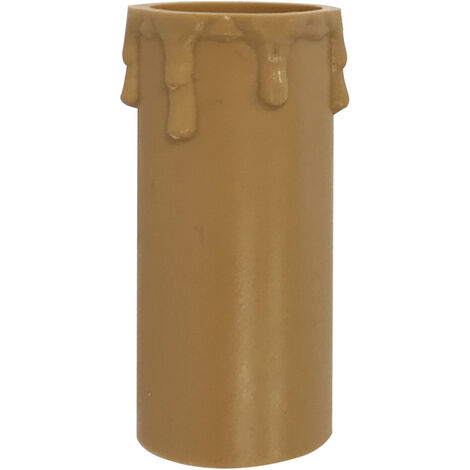 Funda vela beige con detalle de gotas 43x86mm. (Solera 855C)