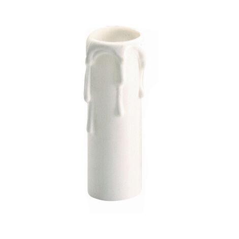 Funda vela blanca con detalle de gotas 86mm. para portalámparas E27 (Solera 855)