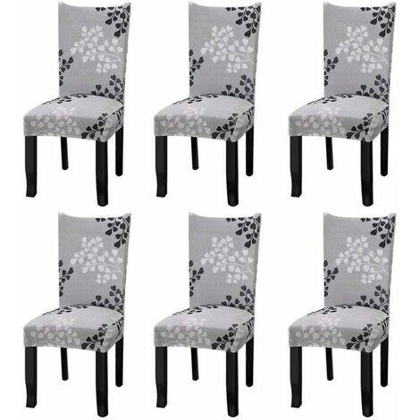 Fundas elásticas universales para sillas, juego de 6 fundas para sillas de comedor con hojas de otoño