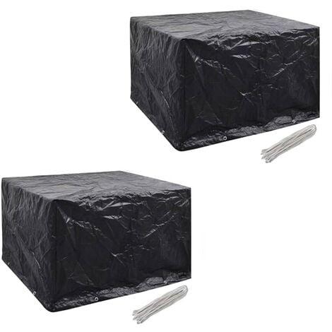 Fundas muebles de jardín 2 uds 4 pers 8 ojales ratán 113x113cm - Negro