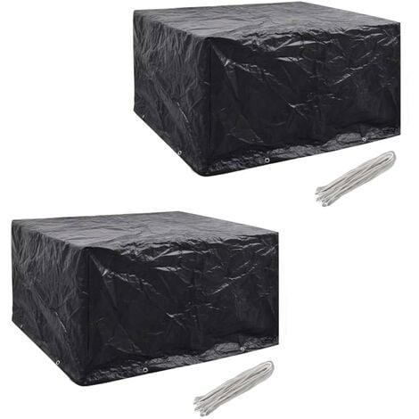 Fundas muebles de jardín 2 uds 6 pers 8 ojales ratán 172x113cm - Negro