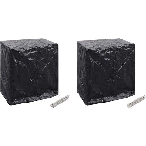 Fundas muebles jardín y mesa pimpón 2 uds 8 ojales 160x55x182cm - Negro