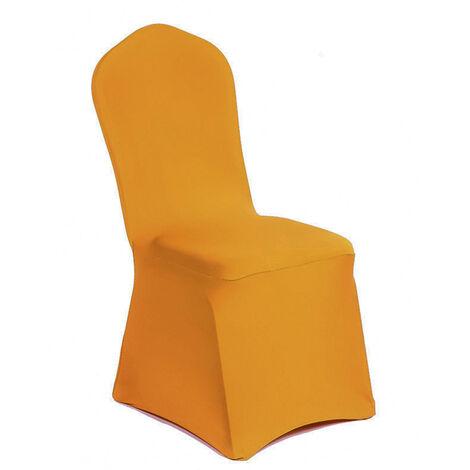 Fundas para sillas cubierta estiramiento elastico Spandex poliester universal silla Tela para la fiesta de bodas Hotel Agape Comedor Cocina, Amarillo