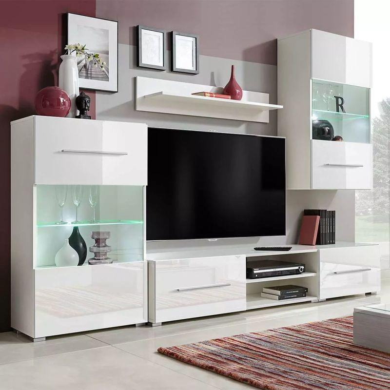 Funfteilige Wohnwand Tv-Schrank Mit Led-Beleuchtung Wei?