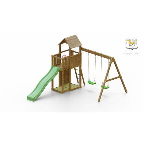 FUNGOO Aire de jeux BOOMER 3 avec double plateforme, échelle, toiture, bac à sable, toboggan vert, mur d'escalade & accessoires de jeux et balançoire 2 sièges - Kit sécurité ancrage au sol fournis
