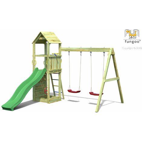 FUNGOO Aire de jeux FLAPPI avec échelle, toiture, bac à sable, toboggan vert, mur d'escalade & accessoires de jeux et balançoire 2 sièges - Kit sécurité ancrage au sol fournis