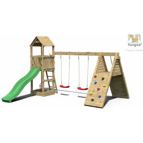 FUNGOO Aire de jeux FLEPPI avec rampe d'accés avec corde, mur d'escalade, toiture, bac à sable, toboggan vert & accessoires de jeux et balançoire 2 sièges - Kit sécurité ancrage au sol fournis