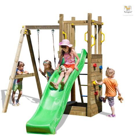 FUNGOO Aire de jeux FUNNY 3 avec échelle, bac à sable, toboggan vert, mur d'escalade et balançoire 1 siège - Kit sécurité ancrage au sol fournis