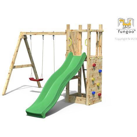 FUNGOO Aire de jeux FUNNY 3 avec échelle, bac à sable, toboggan vert, mur d'escalade et balançoire 2 sièges - Kit sécurité ancrage au sol fournis
