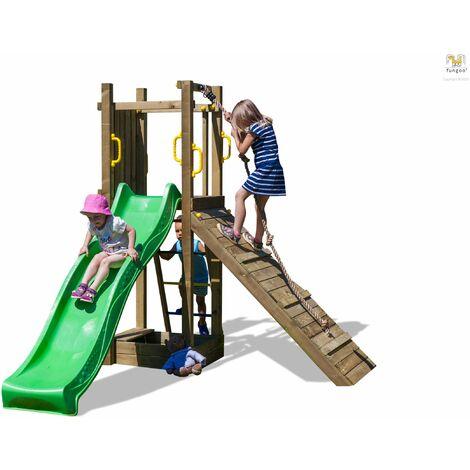 FUNGOO Aire de jeux FUNNY 3 avec rampe d'accés, échelle, bac à sable, toboggan vert & accessoires de jeux - Kit sécurité ancrage au sol fournis