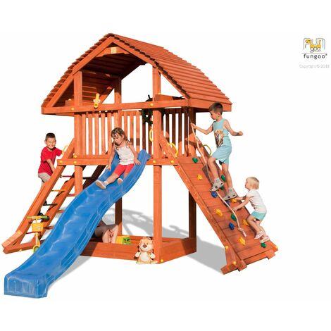 FUNGOO Aire de jeux GIANT ultra robuste et imposante, échelle, rampe de grimpe, avec corde, bac à sable, toboggan bleu & accessoires de jeux - Kit sécurité ancrage au sol fournis