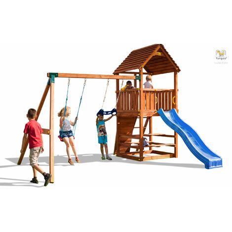 FUNGOO Aire de jeux JOY MOVE + STEP ON & FREE TIME avec échelle, toboggan bleu, mur d'escalade, toiture & accessoires de jeux, balançoire 1 siège et trapèze - Kit sécurité ancrage au sol fournis