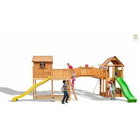 FUNGOO Aire de jeux MAXI SET SIZED PLAZA avec double plateforme, pont en bois, cabane, toitures, 2 échelles, mur d'escalade, corde à nœuds, échelle de corde, bac à sable, coffre à jouets & accessoires de jeux - Kit sécurité ancrage au sol fournis