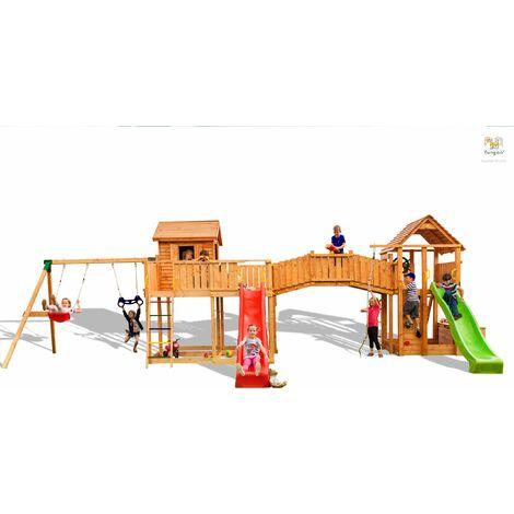 FUNGOO Aire de jeux MAXI SET SMILE FARM avec double plateforme, pont de bois, cabane, 2 échelles, 2 toboggans, mur d'escalade, corde à nœuds, échelle de corde, bac à sable, coffre à jouets accessoires de jeux, balançoire 1 siège et trapèze - Kit sécurité