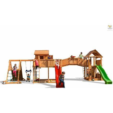 FUNGOO Aire de jeux MAXI SET SPIDER LAND avec double plateforme, pont de bois, cabane, 2 échelles, 2 toboggans, 2 murs d'escalade, mur de corde, corde à nœuds, échelle de corde, bac à sable, coffre à jouets accessoires de jeux, balançoire 1 trapèze - Kit