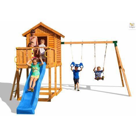 FUNGOO Aire de jeux MyHOUSE MOVE+ avec double plateforme, cabane, toboggan bleu & accessoires de jeux, balançoire 1 sège et trapèze - Kit sécurité ancrage au sol fournis