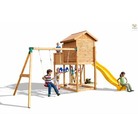 FUNGOO Aire de jeux MYSIDE MOVE+ avec triple plateforme, cabane, échelle, toboggan jaune & accessoires de jeux, balançoire 1 siège et trapèze - Kit sécurité ancrage au sol fournis