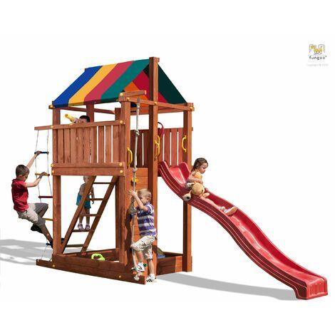 FUNGOO Aire de jeux PARADISE avec large plateforme, mur d'escalade, échelle, échelle de corde, toboggan rouge & accessoires de jeux - Kit sécurité ancrage au sol fournis