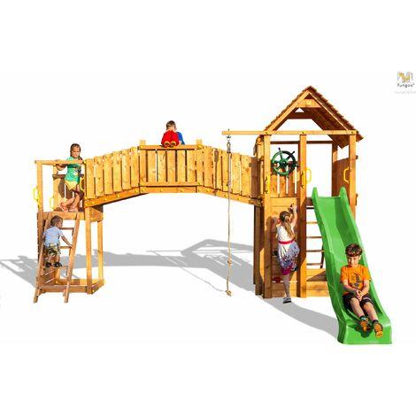 FUNGOO Aire de jeux RAINBOW FORTRESS TIP double plateforme, 2 échelles, pont en bois, corde à nœuds, échelle de corde, 2 murs d'escalade, toboggan vert & accessoires de jeux, - Kit sécurité ancrage au sol fournis