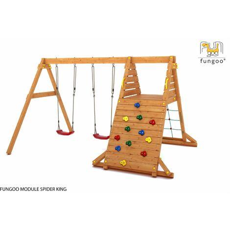 FUNGOO Aire de jeux SPIDER KING avec mur d'escalade, mur de corde, plate-forme et Balançoire 2 sièges - Kit sécurité ancrage au sol fournis