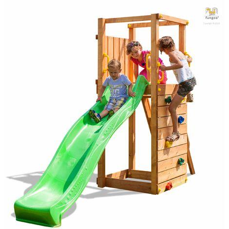 FUNGOO Aire de jeux TIP TOP avec échelle, toboggan vert, mur d'escalade - Kit sécurité ancrage au sol fournis