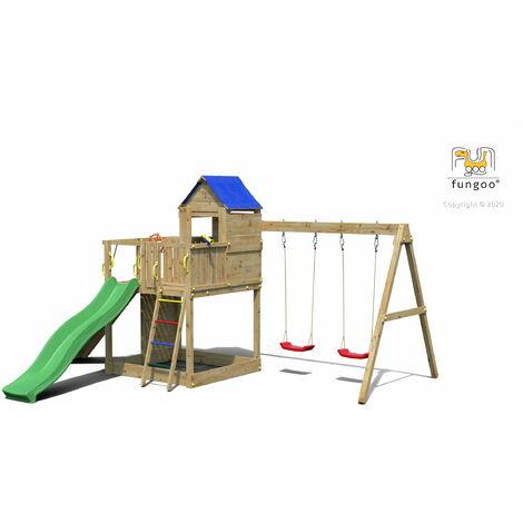 FUNGOO Aire de jeux TREEHOUSE avec grande plateforme, rampe d'accés avec corde, mur d'escalade, cabane, toiture, toboggan vert & accessoires de jeux et balançoire 2 sièges - Kit sécurité ancrage au sol fournis