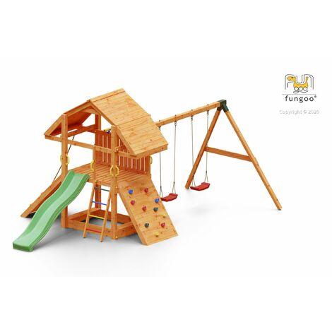 FUNGOO BUFFALO MOVE ultra robuste et imposante, bac à sable, rampe d'accés avec corde, mur d'escalade, toboggan vert & accessoires de jeux, balançoire 2 sièges - Kit sécurité ancrage au sol fournis