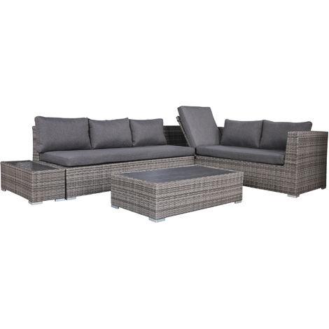 Häufig Funktions Lounge - Set LORENZO, Aluminium + Polyrattan grau PG36