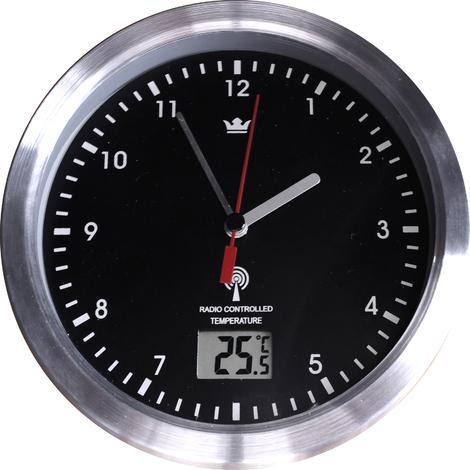 Funkuhr Wanduhr Badezimmer Saugnapf Badezimmeruhr Uhrzeit Temperatur Metall 702941