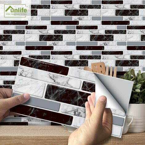 """main image of """"Funlife pegatinas de pared de decoracion de cocina americana, pegatinas de pared de marmol de imitacion clasicas en blanco y negro"""""""