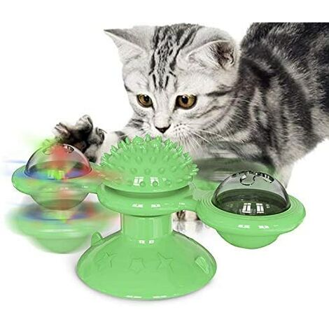 Funny Cat Windmill Toy, Interactive Cat Toy, Catnip Toy Kitten Toys Windmill Turntable, Cat Toy Scratch Pet Hairbrush (Green)