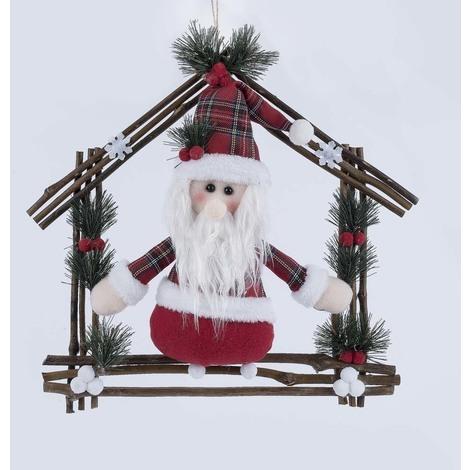 Fuoriporta Natalizio Con Babbo Natale In Stoffa Colorata