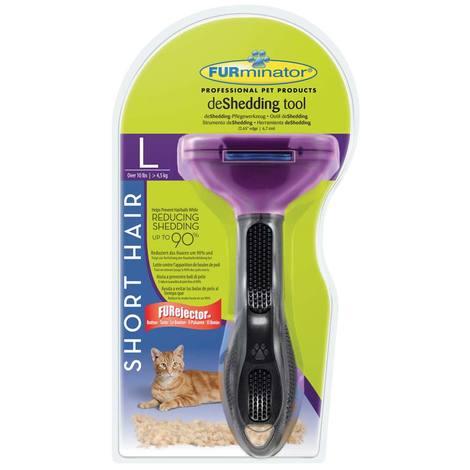 Furminator Deshedding cepillo elimina exceso de pelo muerto Gatos de pelo corto - Talla L