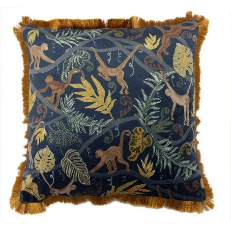 Furn Monkey Forest Cushion Cover (50 x 50cm) (Blue/Orange)