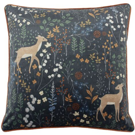 Furn Richmond Cushion Cover with Woodland and Botanical Design (One Size) (Midnight Blue)