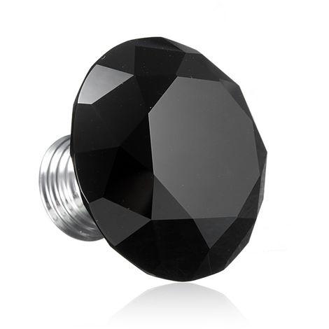 Furniture Knob Crystal Glass Black Cabinet Knob