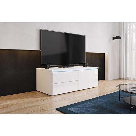 FURNIX - Meuble tv / Meuble de salon - LORICA - 100 cm - blanc mat / blanc brillant - avec LED - 1 compartiment fermé - 2 tiroirs