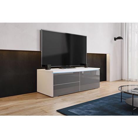 FURNIX - Meuble tv / Meuble de salon - LORICA - 100 cm - blanc mat / gris brillant - avec LED - 1 compartiment fermé - 2 tiroirs