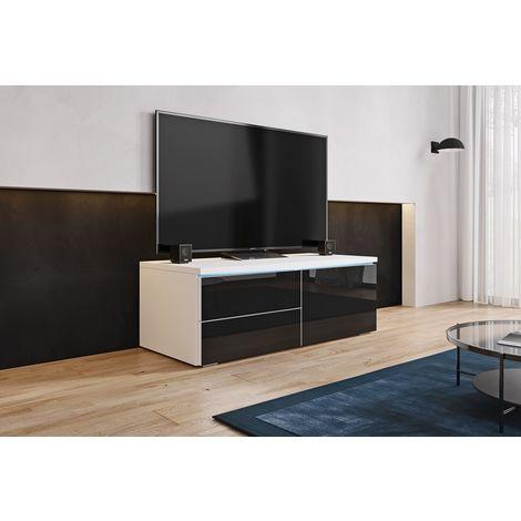 FURNIX - Meuble tv / Meuble de salon - LORICA - 100 cm - blanc mat / noir brillant - avec LED - 1 compartiment fermé - 2 tiroirs