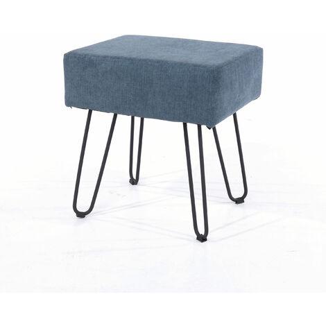 Furry Blue Fabric Rectangular Stool Black Metal Legs