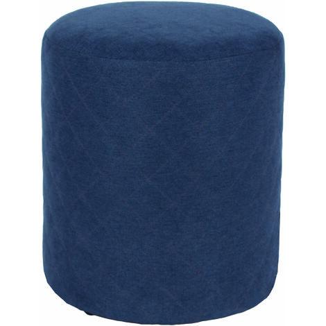 Furry Blue Fabric Round Tub Stool