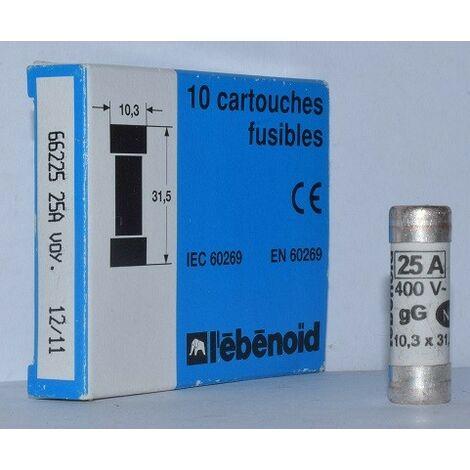 boite de 10 HPC 120kA 500V sans percuteur EBENOID 060108 Fusible 8A cartouche 10X38mm aM usage industriel