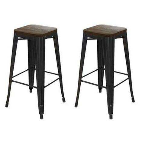 "Fusion 30"" Metal Bar Stool with Wood Seat Black - Set of 2"