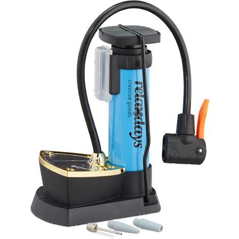 Fußpumpe mit Manometer, alle Ventile, 3 Aufsätze, 10 bar Druck, Fahrrad, Ball, HBT: 18,5 x 14 x 9,5 cm, blau