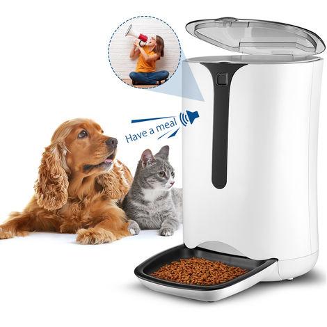 Futterautomat für Hunde und Katze, 7L Automatischer Futterspender Fressnapf mit Timer/Tonaufnahme bis 8 Sekunden/LCD Display, Batterie und Netzteil verbindbar