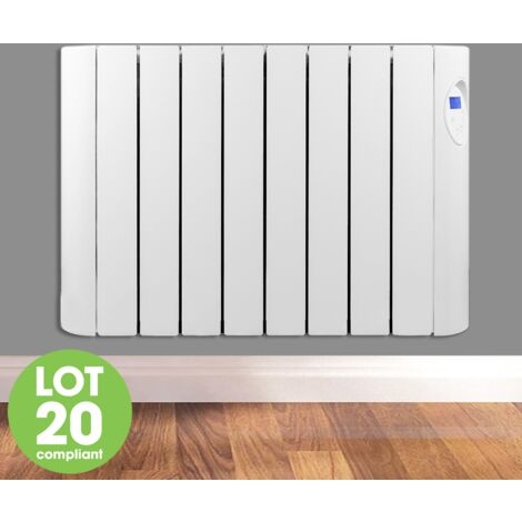 Futura 1500W Oil Filled Electric Radiator Panel Heater 24/7 Day Timer Lot 20 Wall Mounted Low Energy Retention Electric Heater