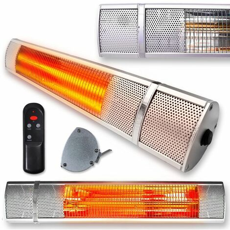 FUTURA Deluxe Wall Mounted Electric Infrared Outdoor Garden Patio, Bathroom Heater 2000W, Waterproof, Remote Control Included